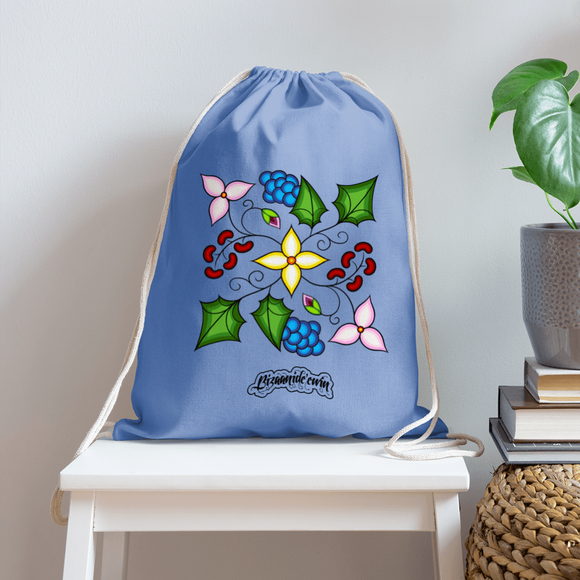 Ojibwe Floral Cotton Drawstring Bag - Bizaanide'ewin Beadwork & Supplies