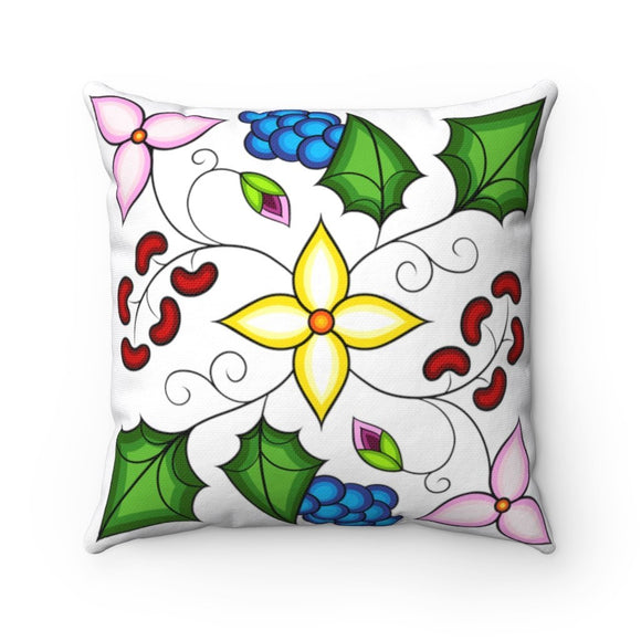 Ojibwe Floral Square Throw Pillow - Bizaanide'ewin Beadwork & Supplies