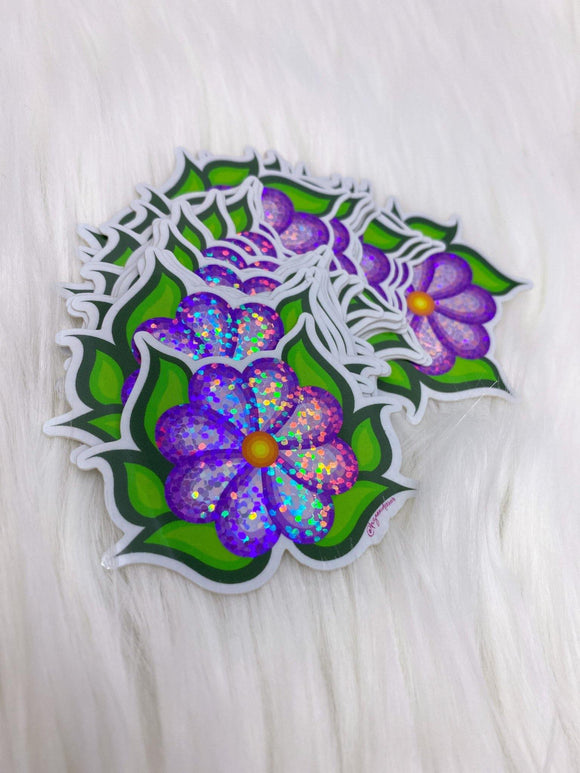 Purple Ojibwe Floral Sticker - Bizaanide'ewin Beadwork & Supplies
