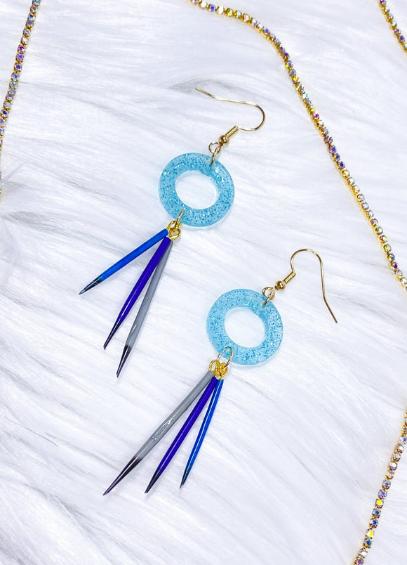 Quill Earrings- Blue Hollow Rounds - Bizaanide'ewin Beadwork & Supplies