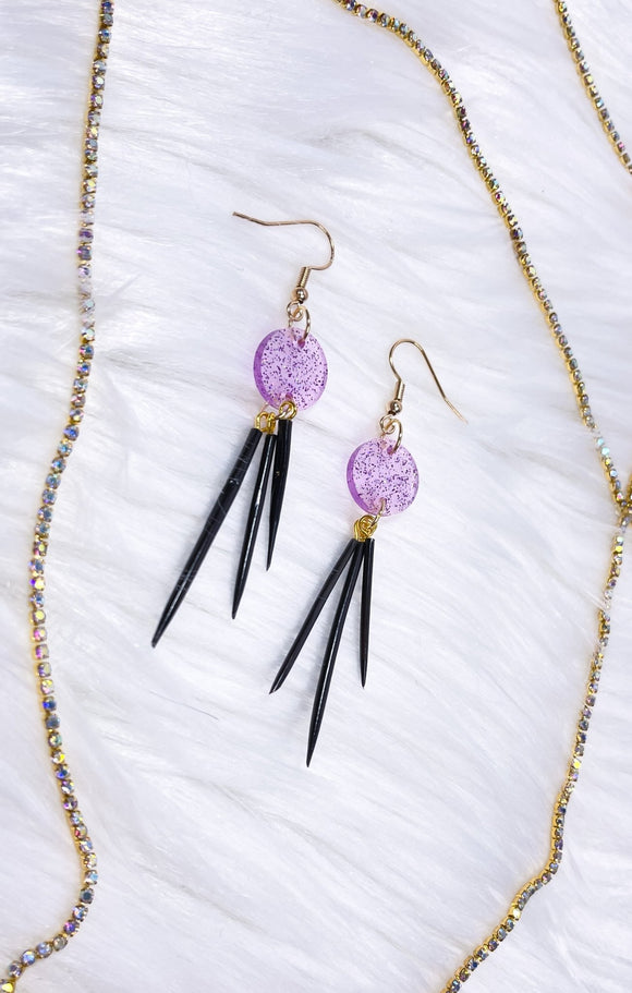 Quill Earrings- Purple/Black Rounds - Bizaanide'ewin Beadwork & Supplies