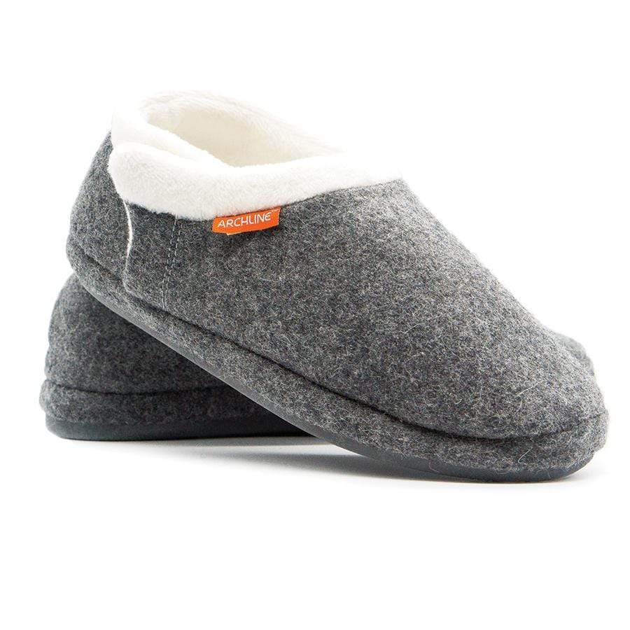 ARCHLINE ORTHOTIC SLIPPERS, CLOSED HEEL, GREY MARL