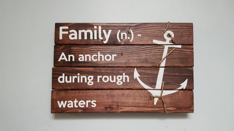 Family Sign-An Anchor during rough waters