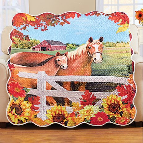 Horses Quilted Throw