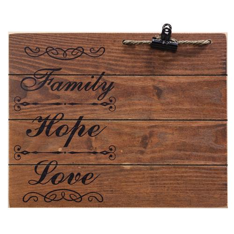 Family, Hope, Love Photo Board