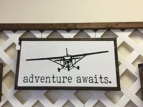 Adventure Awaits Box Sign