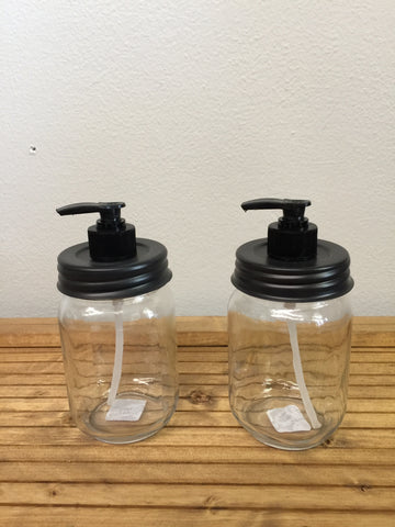 Black Pump soap dispenser with Mason Jar