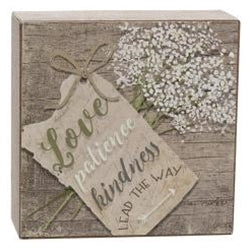 Love, Patience, Kindness Box Sign