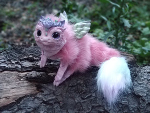 Pink succulent dragon poseable art doll
