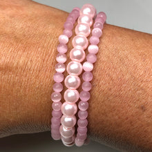 Load image into Gallery viewer, Breast Cancer Special:  Pink Cat's Eye and Pink pearl bracelet set