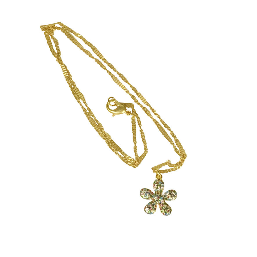 Matte Gold Chain with a Delicate Multicolor CZ daisy pendant - 18