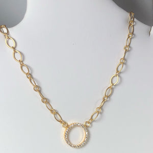 Pretty Matte Gold Oval Chain With A Cubic Zirconia Filled Eternity Ring Focal; Lobster Clasp; 20""