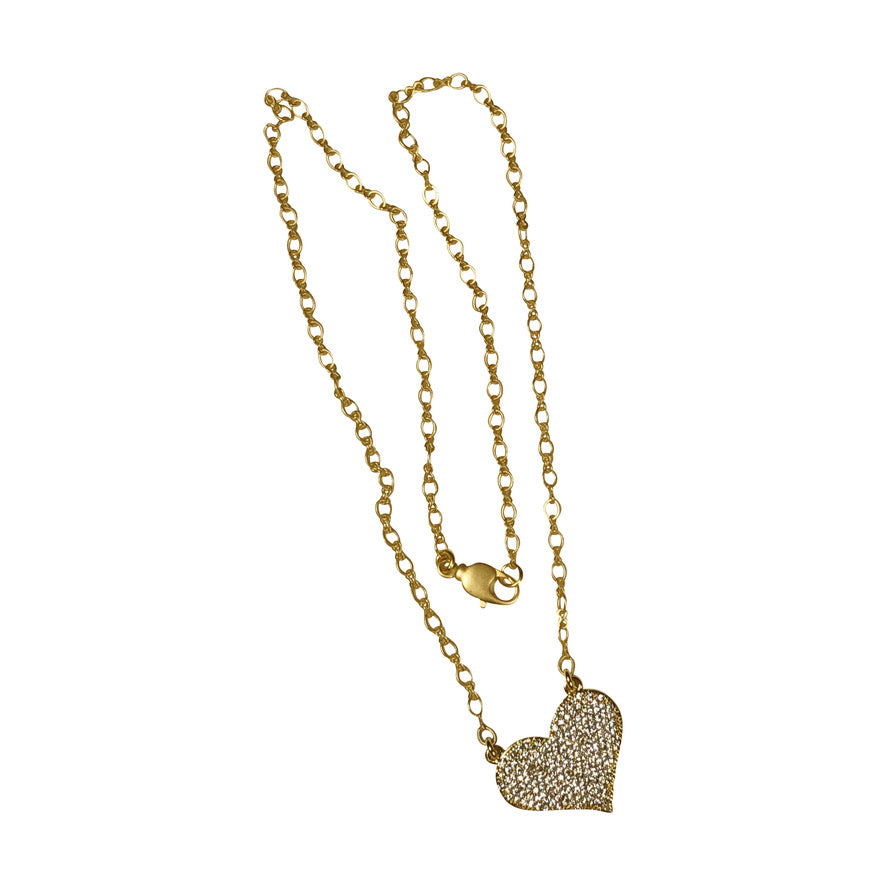 Matte Gold Chain With Cubic Zirconia Filled Heart Pendant With Lobster Clasp; 19""