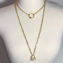 "Load image into Gallery viewer, Trendy Bright Gold 44"" Hi-Lo Paperclip Necklace With A Lock And Key Pendant And A Ring Clasp"