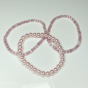 Breast Cancer Special:  Pink Cat's Eye and Pink pearl bracelet set