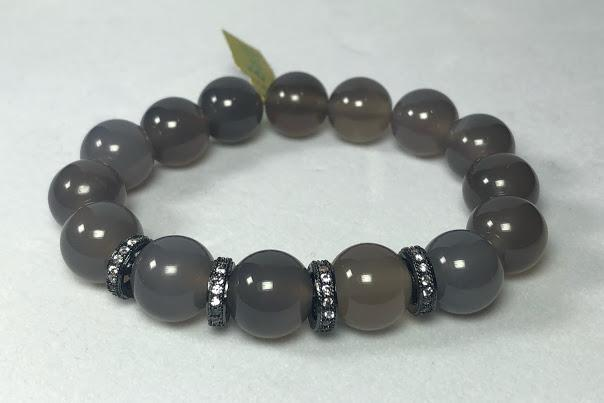 Smooth Grey Agate Stretch Bracelet; Pave Spacers