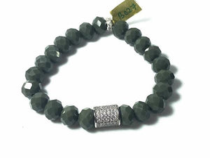 Olive Green Crystal Stretch Bracelet; Pave Focal and Spacers