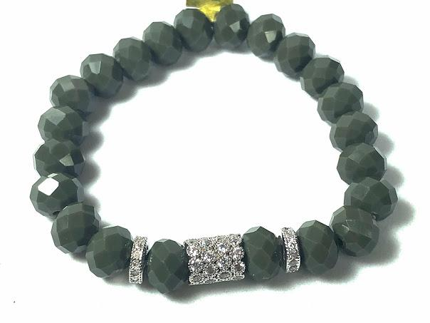 Olive Green Crystal Stretch Bracelet; Pave Beads