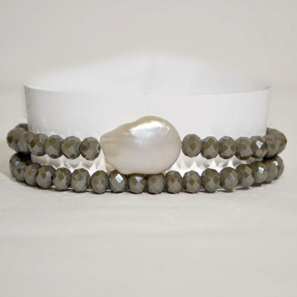 Light Cement/Taupe Transformer; Necklace/Bracelet; Baroque Pearl Focal