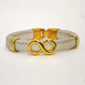 Silver Mirrored Regaliz Leather Bracelet with Gold Infinity Slider