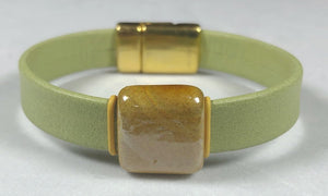 Pistachio Green Leather Bracelet; With Ceramic Focal; Magnetic Clasp