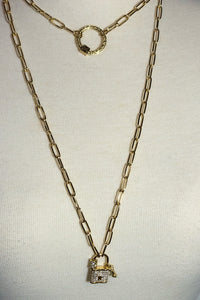 "Trendy Bright Gold 44"" Hi-Lo Paperclip Necklace With A Lock And Key Pendant And A Ring Clasp"