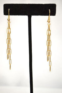 Stylish 3 Strand Matte Gold Paper Clip Dangle Earrings; 2.5""