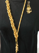 Load image into Gallery viewer, Dramatic hand crocheted bead lariat – exclusive design and versatile with matching earrings