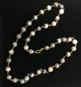 "26"" Beautiful Mystic Gray agate rosary chain necklace!!!"