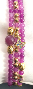 Ruby Jade triple stretch bracelet set