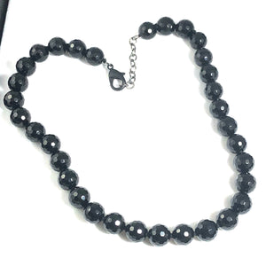 12mm faceted Onyx Necklace