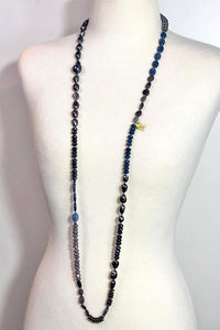 Midnight Blue Necklace: Peacock Baroque Pearls/ Hematite/ Sapphire Agate/Kyanite:  40""