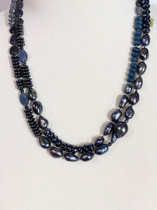 Midnight Blue Necklace: Peacock Baroque Pearls/ Hematite/ Sapphire Agate/Kyanite:  40