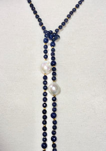 Sapphire Blue Agate Lariat with Extra Large White Baroque Pearls: 42""