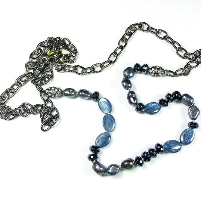 Sapphire Blue Agate, Kyanite And Peacock Pearl Necklace; 37