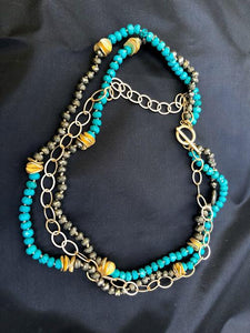 Triple Strand Necklace of Turquoise, Pyrite and Matte Gold Chain; 18""