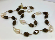 Load image into Gallery viewer, XL Smoky Quartz Necklace With 6 XL White Baroque Pearls; 36""