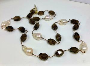 XL Smoky Quartz Necklace With 6 XL White Baroque Pearls; 36""