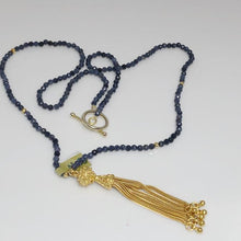 Load image into Gallery viewer, Sapphire Agate Necklace, Vermeil Gold Tassel; 24""