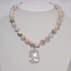 Smooth Pink Opal with A Rare Flat Baroque Pearl; 16""