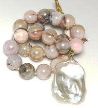 Load image into Gallery viewer, Smooth Pink Opal with A Rare Flat Baroque Pearl; 16""