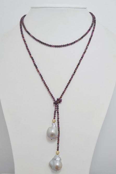 Multicolor Tourmaline Lariat with Natural White Baroque Pearls; 39