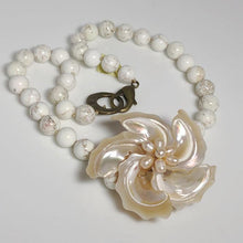 Load image into Gallery viewer, Smooth White Turquoise Necklace, Mother of Pearl Flower Focal; 19""