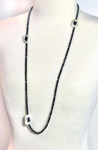 One-Of-A-Kind Hematite Necklace With 3 Mother of Pearl Connectors; 36""
