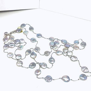 Natural Grey Coin Pearl Necklace; 52""