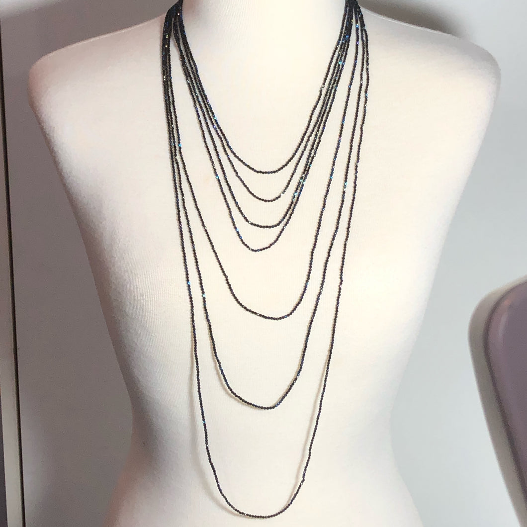 Exceptional Mystic Coated Black Spinel 7 Strand Statement Necklace