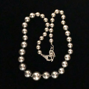 "Graduated Grey Mother of Pearl Hand Knotted 18"" necklace; pave lobster clasp"