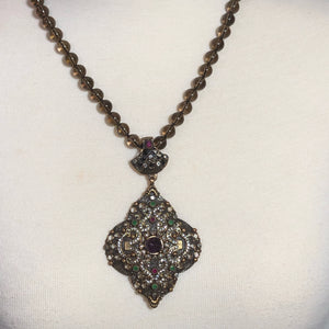 This Exquisite Antique sterling silver set pendant; Smoky Topaz Necklace; 21""