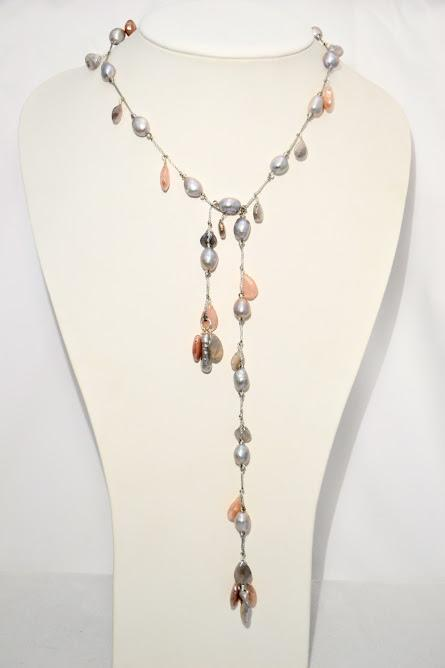 Lariat of Grey Fresh Water Pearls with Pink and Grey Moonstone Briolettes & BIWA pearls; 28