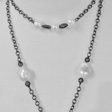 Load image into Gallery viewer, Unique Wraparound Lariat; Oxidized Chain with Pearls; Pave Accent Beads; 57""